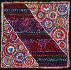 techniques mixtes indiennes carré à broder point avant et boutons cerclés de fils multicolores Kit broderie carré Ganda par KEITO STUDIO