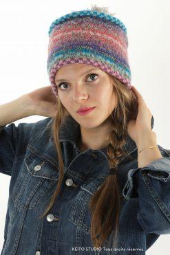Bonnet laine tricot jacquard KEITO STUDIO Kit bonnet Maria Rosa