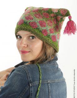 bonnet jacquard nordique ronds roses sur fond vert kit bonnet Sofia