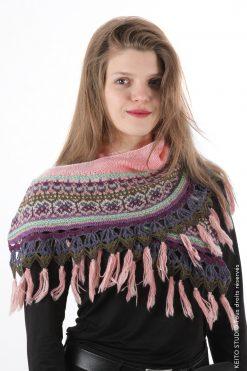 châle demi lune jacquard tissé violet beige et rose avec empiècement et franges en cachemire rose kit châle tricot Helena création KEITO STUDIO