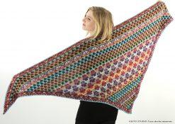 grand châle jacquard tissé tricoté sur aiguille circulaire avec bordure double Kit tricot Châle Ava par KEITO STUDIO