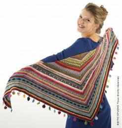kit châle Kaïdi KEITO STUDIO châle tricoté en aller retour avec pastilles crochetées très nombreux coloris rayures et petits motifs