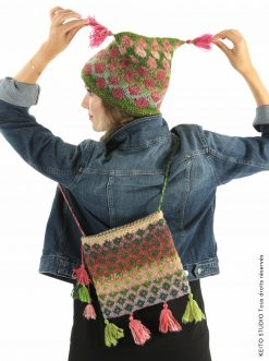 ensemble bonnet et sac tricoté avec glands Kit sac Sofia