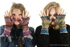 gants sans doigt tricot main jacquard tissé motifs cercles et carrés déclinaison de couleurs Atelier tricot mitaines Gudrun Kit mitaines Gudrun cercles