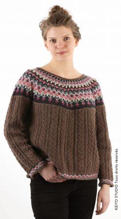 pull à empiècement laine et cachemire Kit tricot pull Ilona KEITO STUDIO