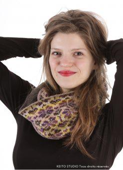 Snood perlé Eeva kit tricot création de KEITO STUDIO snood tricot jacquard snood tricot kit