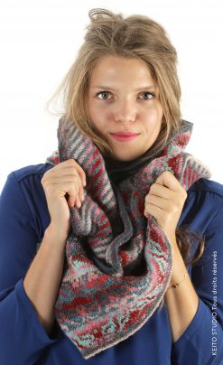tour de cou jacquard déclinaison de bleus et roses Kit snood Inka arabesques par KEITO STUDIO tricot jacquard