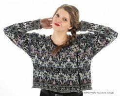 veste KEITO STUDIO jacquard pure laine motifs floraux foncés sur fond pastel Kit veste KÄTLYN