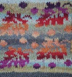 Atelier tricot jacquard motif jacquard feuilles d'automne tons bruns orange et rouge jacquard tissé KEITO STUDIO