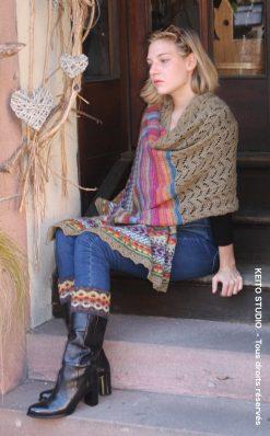 inspiration dentelle estonienne au tricot et jacquard rayé multicolore finitions raffinées Etole Kerstin KEITO STUDIO